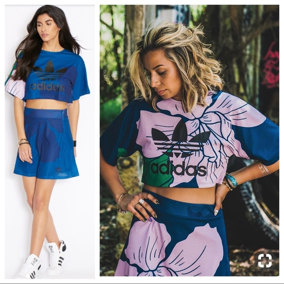 b84e5a5eb90 adidas Tops | Floral Engraving Crop Top Skirt Set | Poshmark
